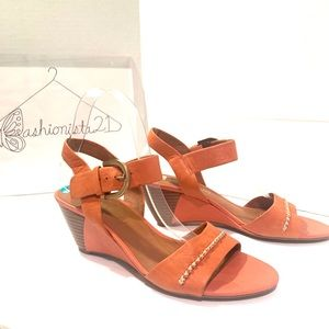 Franco Sarto Winona Orange Leather Wedge S…